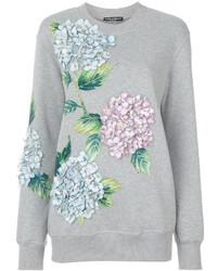 Sudadera con print de flores gris de Dolce & Gabbana