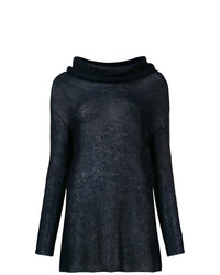 Suéter con cuello chal azul marino de Antonelli
