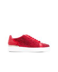 Tenis de cuero con adornos rojos de Philipp Plein