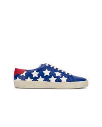 Tenis de cuero de estrellas azul marino de Saint Laurent