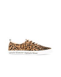 Tenis de cuero de leopardo amarillos