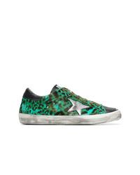 Tenis de cuero de leopardo verdes de Golden Goose Deluxe Brand