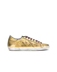 Tenis de cuero dorados de Golden Goose Deluxe Brand