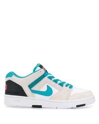 Tenis de cuero en blanco y azul de Nike