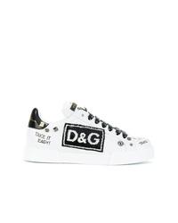Tenis de cuero en blanco y negro de Dolce & Gabbana
