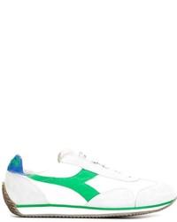 Tenis de cuero en blanco y verde de Diadora