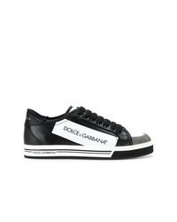 Tenis de cuero en negro y blanco de Dolce & Gabbana