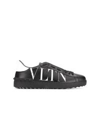 Tenis de cuero en negro y blanco de Valentino