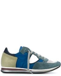 Tenis de cuero en verde azulado de Philippe Model