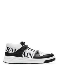 Tenis de cuero estampados en blanco y negro de Balmain