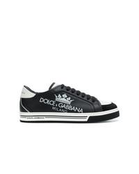 Tenis de cuero estampados en negro y blanco de Dolce & Gabbana