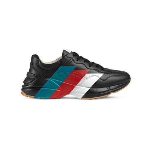 c29a956d01 Tenis de cuero estampados negros de Gucci, MEX$17,268 | farfetch.com ...
