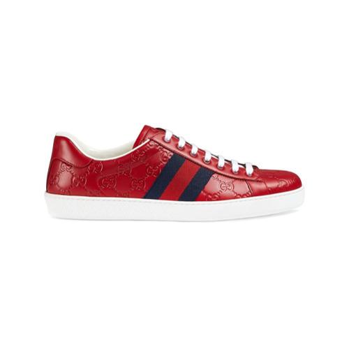 20dd9ccc1 Tenis de cuero estampados rojos de Gucci, MEX$10,848   farfetch.com ...