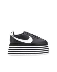 Tenis de cuero gruesos en negro y blanco de Nike
