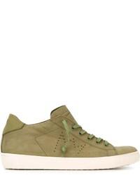 Tenis de cuero verde oliva de Leather Crown