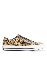 Tenis de leopardo marrónes de Converse