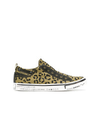 Tenis de lona de leopardo marrón claro de Diesel