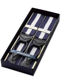 Tirantes de rayas verticales en azul marino y blanco