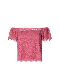 Top con hombros descubiertos de encaje rosa de Twin-Set