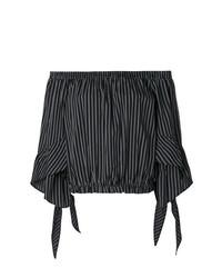 Top con hombros descubiertos de rayas verticales negro de Isabelle Blanche