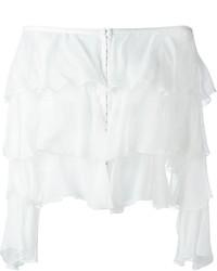 Top con hombros descubiertos de seda blanco de Balmain