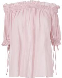 Top con hombros descubiertos rosado de Alexander McQueen