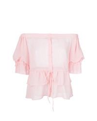 Top con hombros descubiertos rosado de Christian Pellizzari