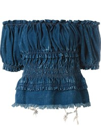Top con hombros descubiertos vaquero azul marino de Chloé