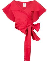 Top corto con estampado geométrico rojo de Rosie Assoulin