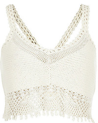 Top corto de crochet blanco