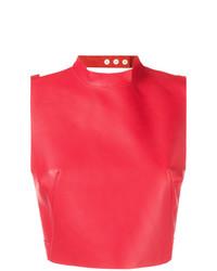 Top corto de cuero rojo de Manokhi
