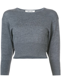 Top corto de lana gris