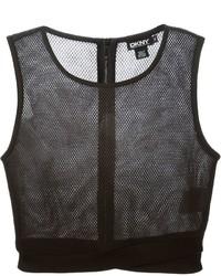 Top corto de malla negro de DKNY