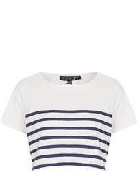 Top corto de rayas horizontales en blanco y azul marino