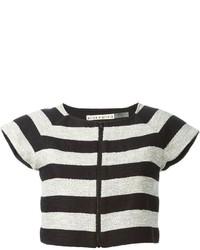 Top corto de rayas horizontales en negro y blanco de Alice + Olivia