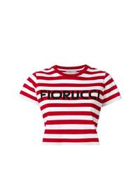 Top corto de rayas horizontales rojo de Fiorucci