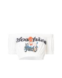 Top corto estampado blanco de Moschino