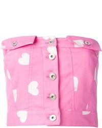 Top corto estampado rosado de Moschino