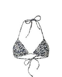 Top de bikini con print de flores azul marino de Matteau