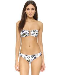 Top de bikini con print de flores blanco