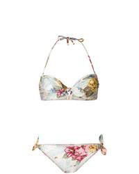 Top de bikini con print de flores en beige de Zimmermann