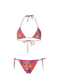 Top de bikini con print de flores en multicolor de Etro