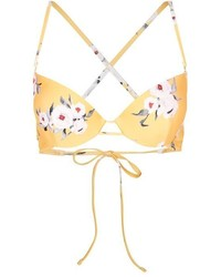 Top de bikini con print de flores naranja