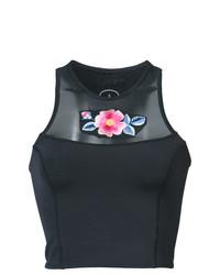 Top de bikini con print de flores negro de Cynthia Rowley