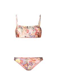 Top de bikini con print de flores rosado de Zimmermann