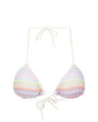 Top de bikini de rayas horizontales blanco de Cecilia Prado
