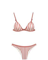 Top de bikini de rayas verticales rosado de Haight