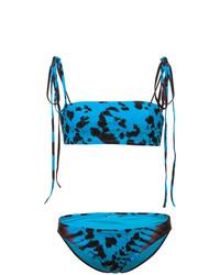 Top de bikini efecto teñido anudado azul de Proenza Schouler