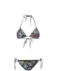 Top de bikini estampado azul marino de Mary Katrantzou