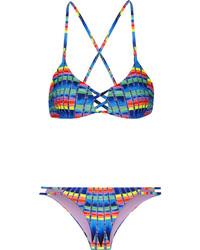 Top de bikini estampado azul